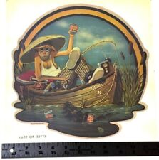 Vtg Fisherman Boat T Shirt Iron On Transfer Unique 1974 Fishing Beer Funny Gag