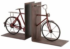 "Wrought Iron Old-Fashioned Bicycle Bookends 8"" H Rustic Style Distressed Finish"
