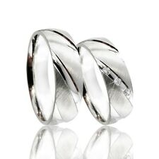 2 Trauringe 925 Silber mit echtem DIAMANT GRAVUR+Etui Eheringe PR36-3D