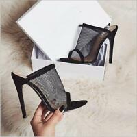 Sexy Women Hollow-Out Slip On Peep Toe Mesh Sandals Up High Heel Stiletto Shoes