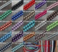 Free Shipping 50pcs Mixed Color Glass Pearl Round Smooth Spacer Beads 6mm