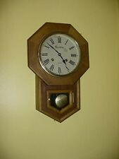 Vintage Montgomery Ward Co Oak Wood Regulator School House Key Wind Wall Clock