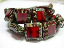 10 Garnet Red Travertine Chunky Czech Square Window Beads 13mm