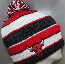 Chicago Bulls NBA CUFFED KNIT Cap Beanie Hat with Pom NBA Chicago Bulls Pom Knit