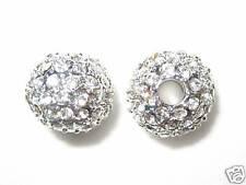 2 12mm Swarovski Pave Ball Beads Rhodium/Crystal AS9