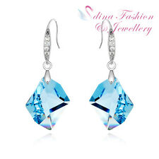 18K White Gold GF Made With Swarovski Crystal Rhombus Aquamarine Dangle Earrings