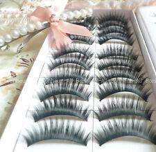 10 Pairs Makeup Handmade Natural Fashion Long False Black Eyelashes - BE001
