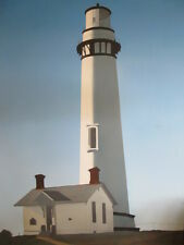 MURAL SIZE AUTHENTIC VINTAGE OIL PAINTING fine art LIGHT HOUSE 58 X 44 AIRBRUSH