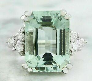 7CT Emerald Cut Aquamarine Diamond Solitaire Engagement Ring 14K White Gold Over