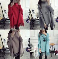 Womens Lady Warm Tassel Shawl Knit Cardigans Sweater Turtleneck Cape Poncho