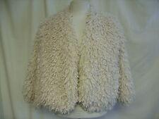 "Ladies Jacket Bolero Maggie + Me ivory, shaggy faux fur, size L, bust 42"" 0730"