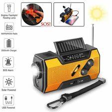 Emergency Solar Hand Crank Radio AM/FM/NOAA Flashlight 2000mAh Phone Charger SOS