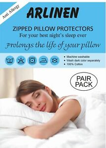 Pack of 4 Pillow Protectors 100% Cotton Hypoallergenic Zipped Entry,Size 74x48cm