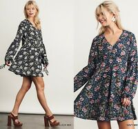 SML UMGEE BLACK or NAVY Floral  Balloon Tassel Tie Sleeves Dress/Tunic SASSY SKY