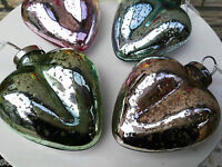 4 x  Glasherzen Anhänger Herz Bauernsilber Glas Silber Türkis Rosa Hellblau