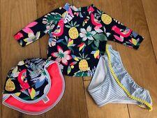 NEW M&S Baby Girls 12-18 months UV Sun Safe Swim Suit Vest Pants Hat UPF50 3 PC