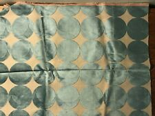 Vintage Light Blue On Taupe Upholstery Fabric 30� X 56�