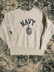Vintage 80s Champion Reverse Weave Grey Naval Academy Navy Crewneck Sweatshirt