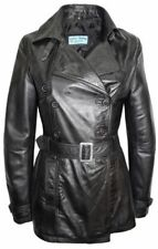 Ladies 1123 Trench Black Mid-Length Awesome stylish soft Leather Jacket Coat
