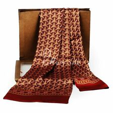 Fashion New  Mens 100% Silk Long Scarf  Cravat  Scarives Double Layered  Red