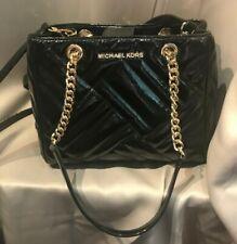 MICHAEL KORS MED Quilted Leather Tote Shoulder Bag In BLACK Gold Chain