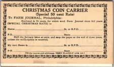 1905 FARM JOURNAL Subscription Order Form Postcard / 50-Cents Coin Carrier