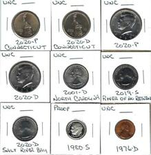 NINE VARIOUS UNCIRCULATED U.S. COINS - NICE MIX - ONE IS A PROOF COIN