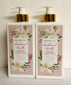 2 Bottles Nature Love ~ Sandalwood & Vanilla Soothing Hand Wash 16 fl oz Each