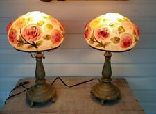Pair of Boudoir lights Lamp with a Puffy Shade Roses reverse painted glass mint
