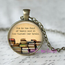 fond of books Cabochon Glass Necklace charm vintage Bronze pendants
