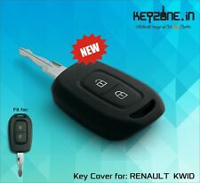 Keyzone Silicone Car Key Cover fit for Renault Kwid remote key (black)