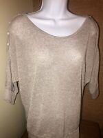 Chris & Carol Short Sleeve Knit Shirt Peek A Boo Shoulder Medium Beige Boutique