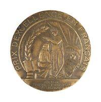 Antique The Robbins Company Attleboro French Language Studies Award Bronze Medal