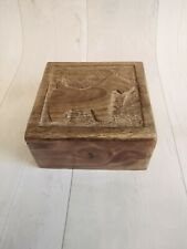 More details for vintage carved wooden box with dog design terrier scottie westie
