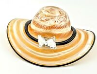 Murano Italy Hand Blown Glass Lg Bowl Flower Hat Vase Vintage Art Glass Bowtie