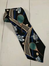 "WEMBLEY Necktie 100% Silk Tennis Racquet Ball Net Shoes Mens 58"" Pristine"
