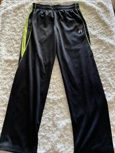 Russell Athletics Boys Black Neon Yellow Athletic Pants Pockets Large 10-12