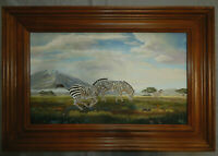 ZEBRAS original oil on canvas painting artist signed framed tinga africa