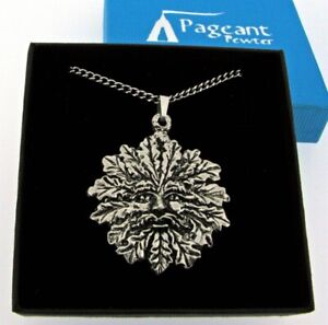 Green Man Silver Pewter Pendant On A Chain
