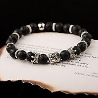 Men's Lava Rock Double Buddha Crown OM Beaded Charm Women DIY Handmade Bracelets