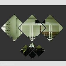 New Unique Rhombus Modern Removable Art Mirror Wall Sticker Home Decal Accessory