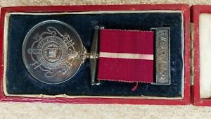 1909 20yrs fire brigade long service medal boxed