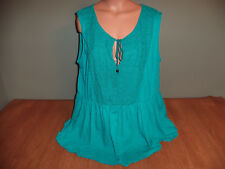 New Junior Womens Plus Size 2X Rue 21 Green Embroidered Chest Tank Top Shirt