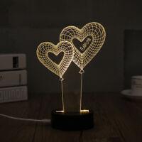 Home Decor Acrylic 3D Visual Illusion Heart Lamp Night Light LED Table Desk Lamp