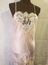 Jonquil Sexy Bridal Pink Wet Look Satin Ivory Lace Long Nightgown Size Small Sm