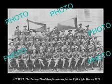 8x6 HISTORIC PHOTO OF WWI AUSTRALIAN ANZAC S8x6IERS 5th LIGHT HORSE R/I c1916