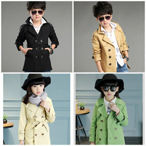 Boy/Girl Trench Coat Wind Coat Double Breasted 100% Cotton Size 3-16 YRS