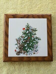 Custom Handmade Christmas Italian Ceramic Tile Trivet w/Wooden Oak Frame NEW!
