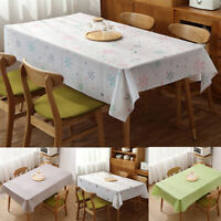 Floral Print Rectangular Tablecloth Plastic Oil-Proof Waterproof Table Cloth 1PC