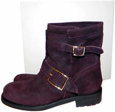 $1050 Jimmy Choo Burgundy Biker YOUTH Short Motorcycle Boot Ankle Bootie 39- 8
